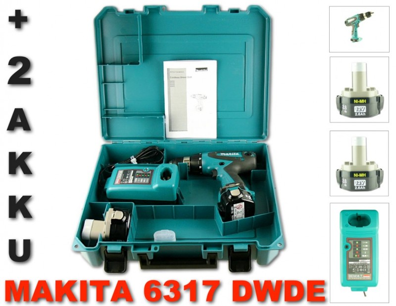 makita 6317 dwde 12v akku bohrschrauber 2x makita akku 2 6 ah lader koffer ebay. Black Bedroom Furniture Sets. Home Design Ideas