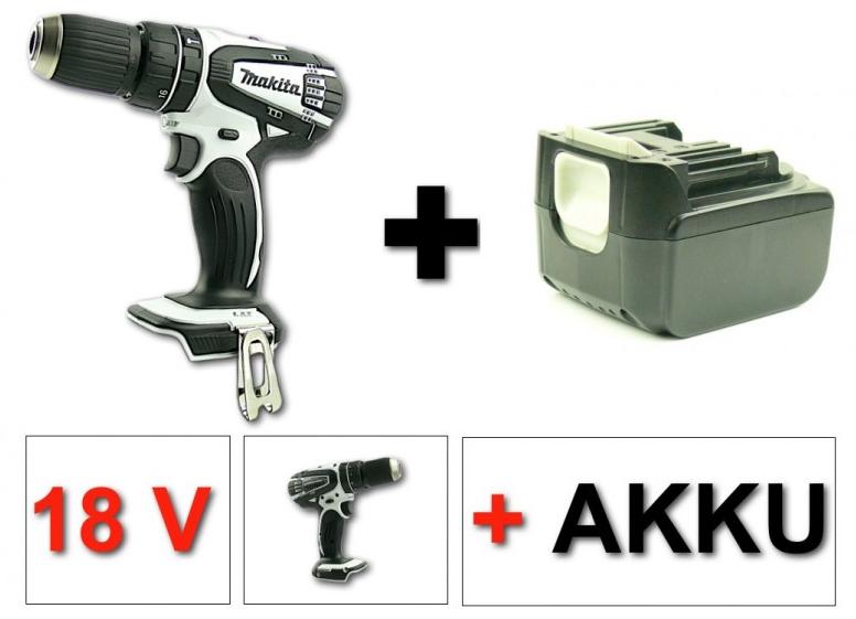 makita bhp 456 18 v akku schlagbohrschrauber weiss solo 1x dinotech akku 3 0ah ebay. Black Bedroom Furniture Sets. Home Design Ideas