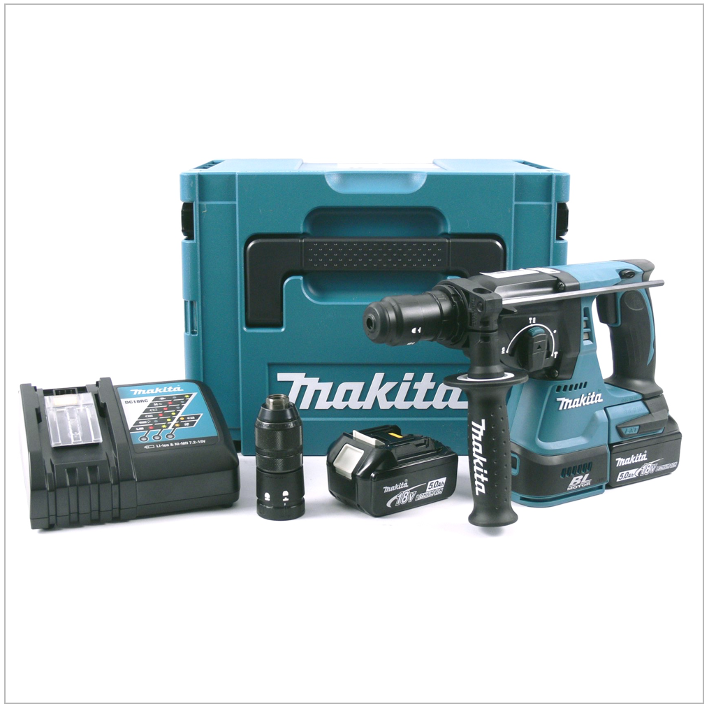 makita dhr 243 rtj 18 v akku kombihammer makpac 2 x bl 1850 akkus lader ebay. Black Bedroom Furniture Sets. Home Design Ideas