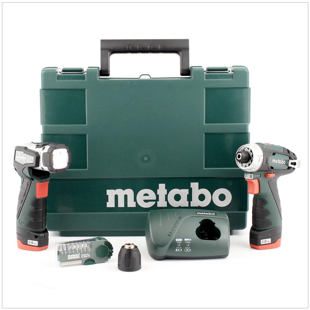 metabo powermaxx bs 10 8 v akku bohrschrauber basic set mit 2x 2 0 ah akku lampe bitset. Black Bedroom Furniture Sets. Home Design Ideas