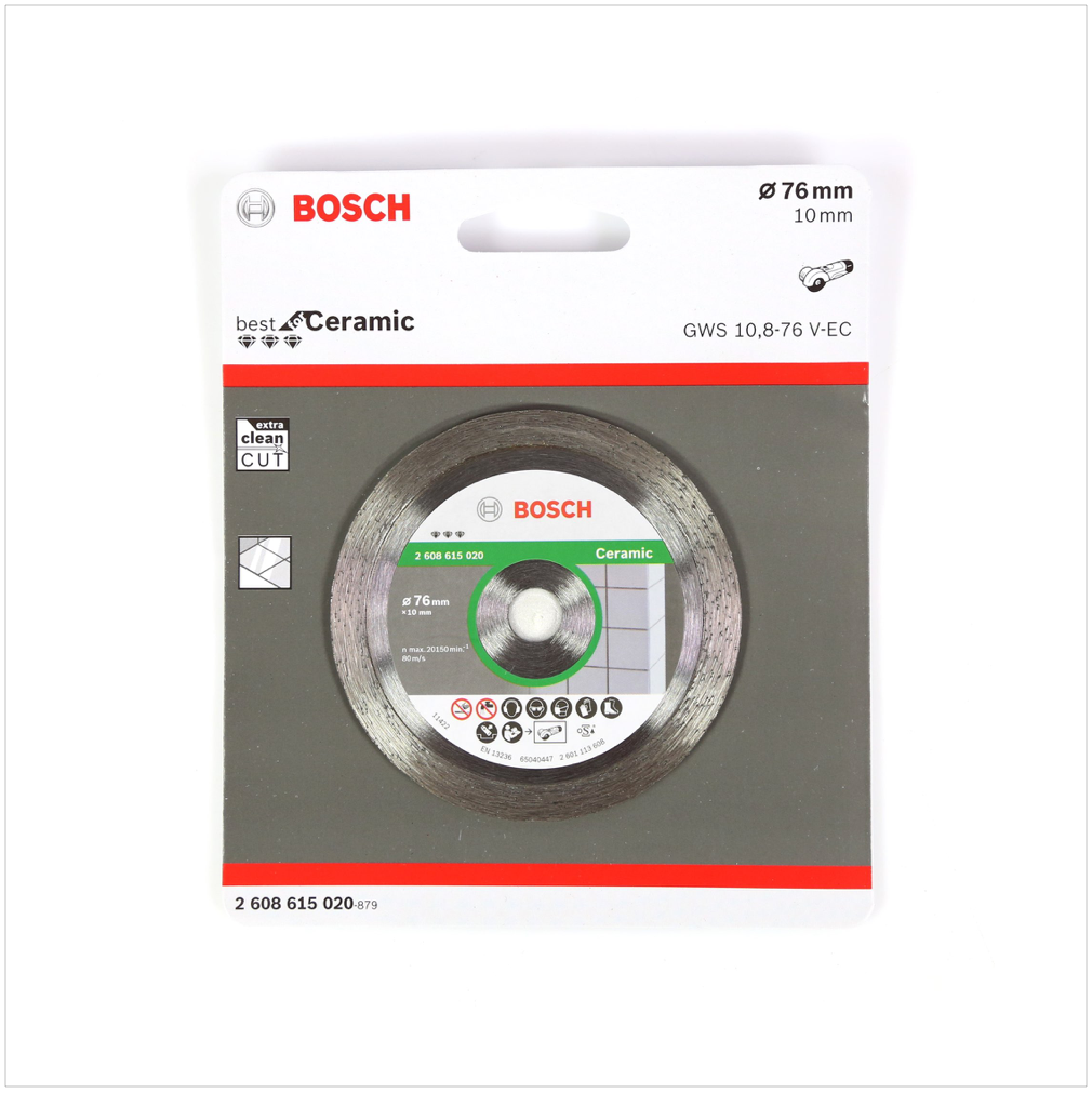 bosch trennscheibe diamant f r ceramic 76 mm f r gws 10 8. Black Bedroom Furniture Sets. Home Design Ideas
